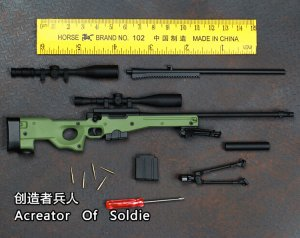 Mini Toys 1:6 Scale AWM/L96A1 Full Metal Sniper Rifle Green Color