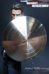 Custom Captain America Metal Electroplated Shield Silver Color 1/6