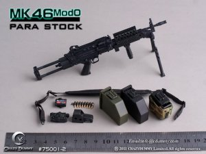 CRAZY DUMMY MK46 MOD0 Para Stock Machine Gun 1/6 Black