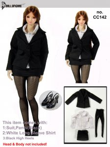 142 1/6 Female Black Secretary Suit Full Set-Fits Hot Toys,TTL,Verycool,Kumik