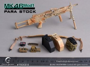 CRAZY DUMMY Machine Gun MK46 MOD1 PARA Stock 1/6 Camouflage 75002-5