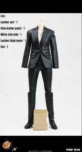"POP TOYS X14 Style Female Spy Leather Suit ""Grim appearance, fiery heart"" 1/6"