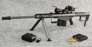 "ZY Toys US BARRETT M107A1 Sniper Rifle Set Black 1/6 Fit for 12"" Action Figure 8028B"