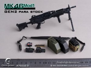 CRAZY DUMMY Machine Gun MK46 MOD1 GEN2 75002-3 Para Stock 1/6 Black