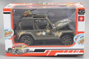 NEW WILLYS Military Army Jeep with sound light works 1/24 Diecast Model