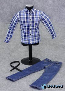 ZY Toys Male Printing Long Sleeve Shirt & Jeans w/ Belt #4 New Version 1/6