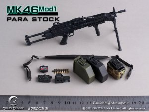 CRAZY DUMMY MK46 MOD1 PARA Stock Machine Gun 1/6 Black 75002-2