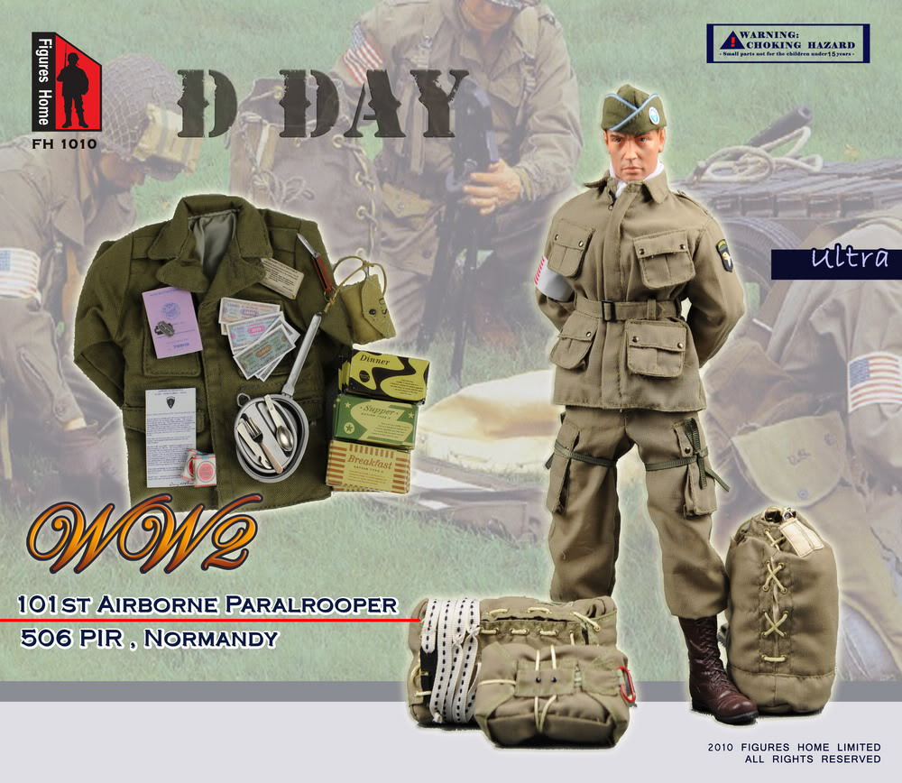 Figure Home Wwii Normandy D Day Us 101st Airborne Paratrooper 1 6 Figure